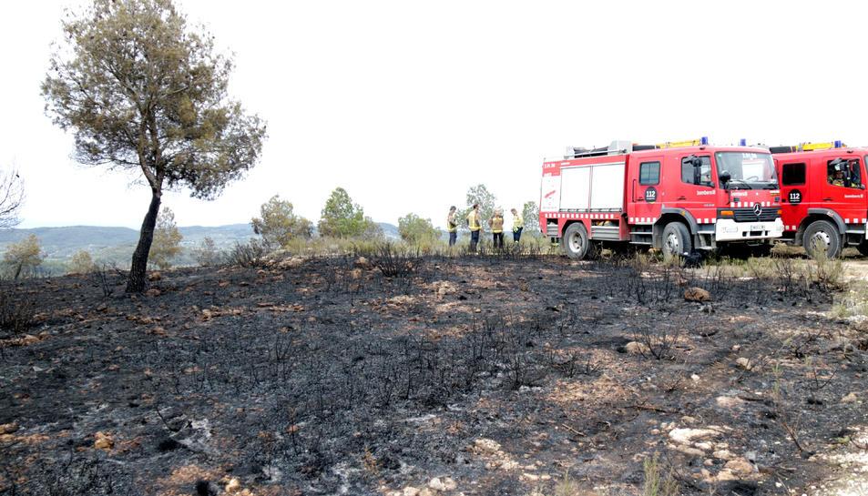 Efectius dels bombers descansant en una zona afectada per l'incendi del Perelló.