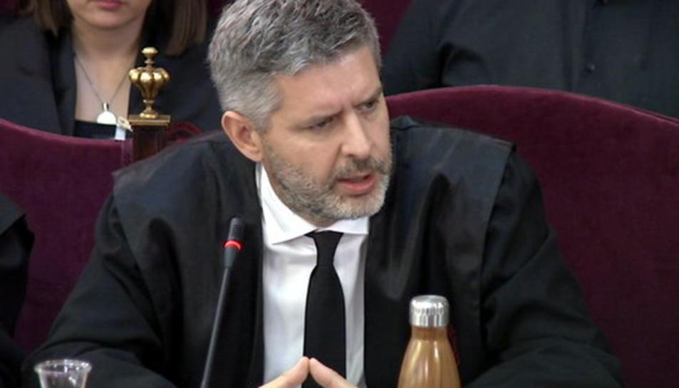 L'advocat de Junqueras i Romeva, Andreu van den Eynde, durant el seu informe final al judici de l'1-O al Tribunal Suprem.