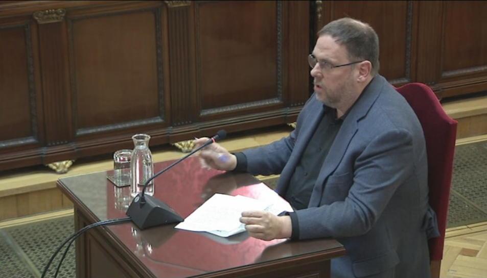 Pla mitjà del líder d'ERC, Oriol Junqueras, durant l'últim torn de paraula al Tribunal Suprem.