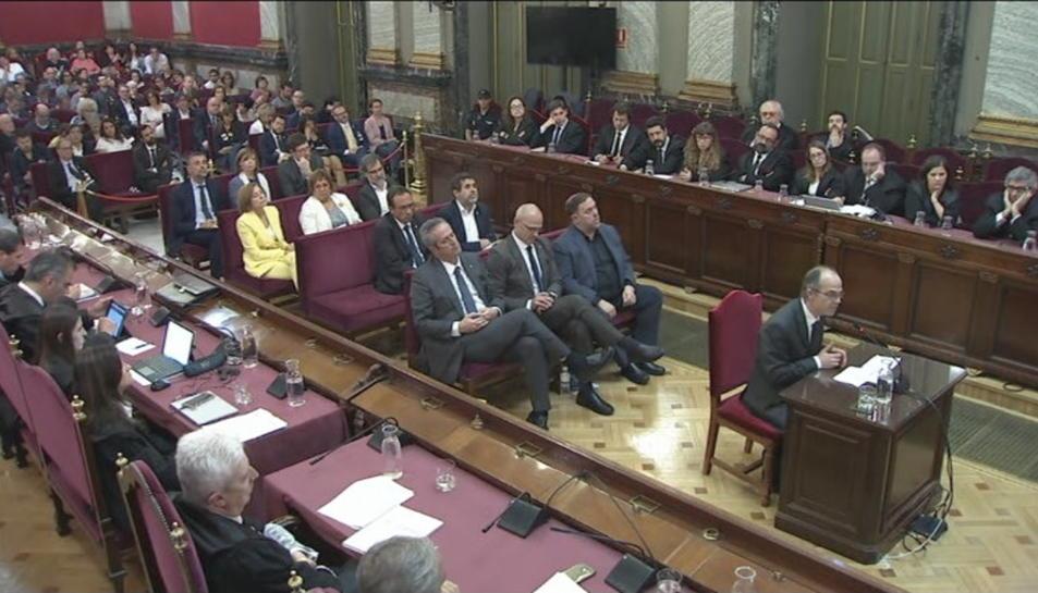 Pla general de Jordi Turull durant l'últim torn de paraula al Tribunal Suprem.
