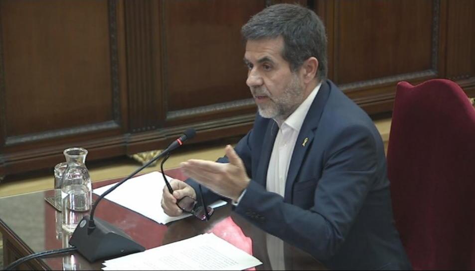 Pla general de Jordi Sànchez durant l'últim torn de paraula al Tribunal Suprem