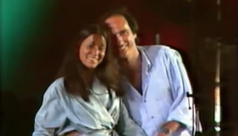 Laura Almerich, emocionada al concert del Camp Nou al 1985.