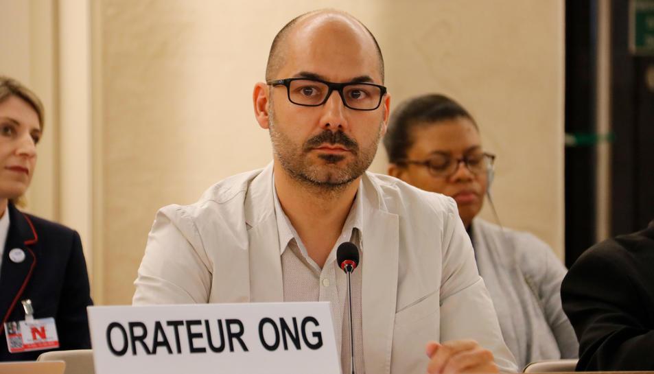 El director d'UNESCOCAT, Gerard Segú, durant la seva intervenció al plenari Consell de Drets Humans de l'ONU.
