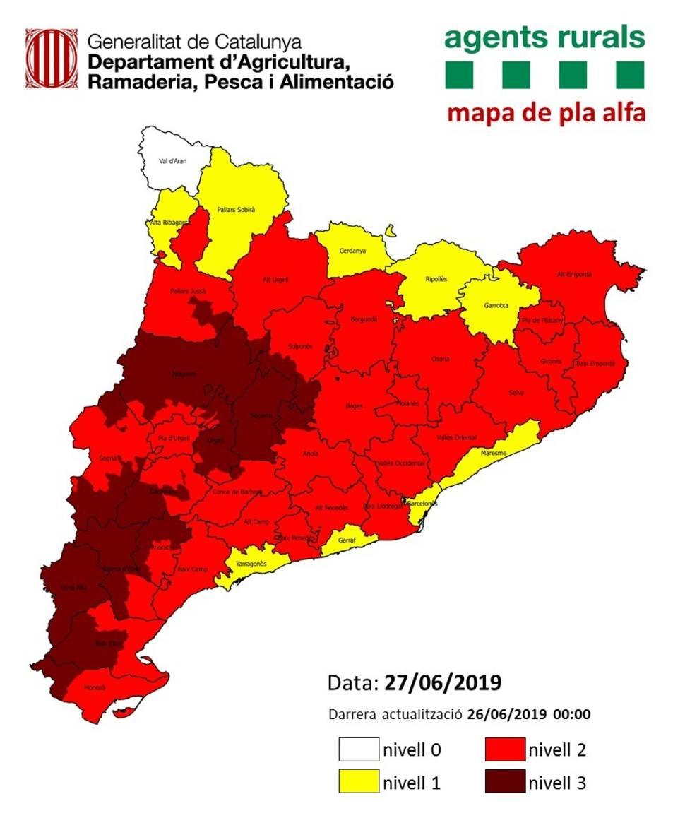 Previsió del Pla Alfa per al dia 27 de juny.