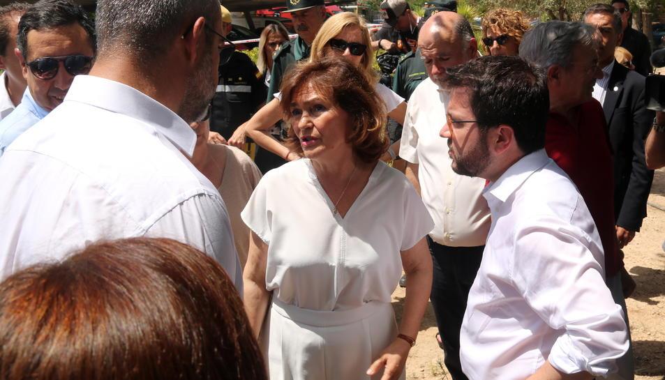El vicepresident del Govern, Pere Aragonès, el conseller d'Interior, Miquel Buch, i la vicepresidenta del govern espanyol, Carmen Calvo.