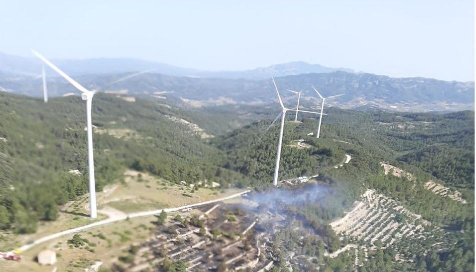 Imatge aèria de l'incendi de la Fatarella.