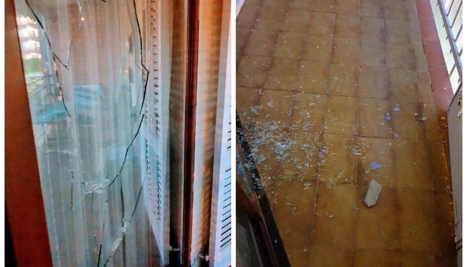 Imatge dels vidres trencats. A la dreta, l'home llençant pedres en una captura de vídeo.