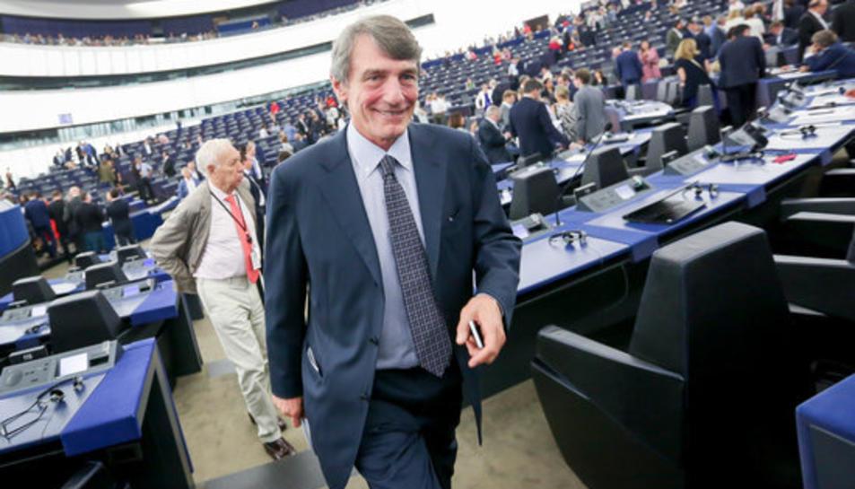 L'italià David-Maria Sassoli, al Parlament Europeu d'Estrasburg.