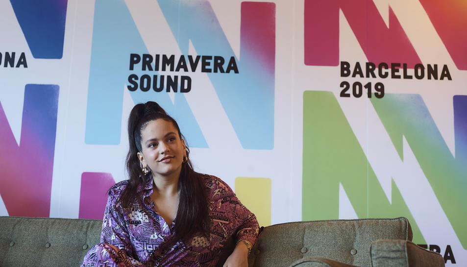 Rosalía durant la roda de premsa que ha ofert en el marc del Primavera Sound