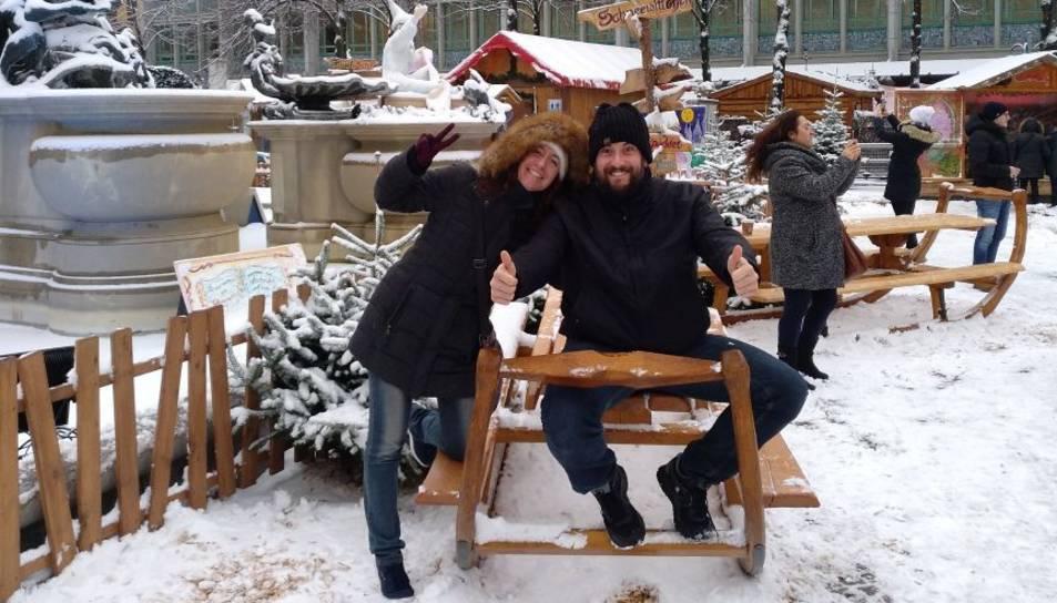 Sonia Garcia amb la seva parella a Mannheim.
