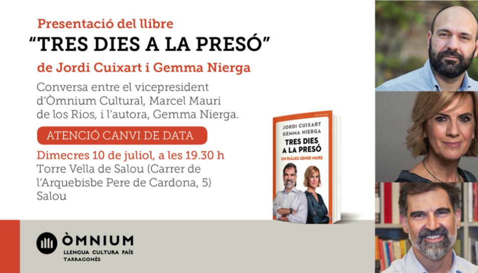 Imatge del cartell de la presentació del llibre 'Tres dies a la presó' a Salou.