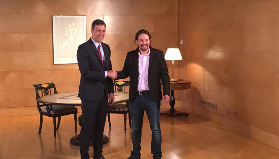 Els líders del PSOE i de Podem, Pedro Sánchez i Pablo Iglesias, aquest dimarts al Congrés.
