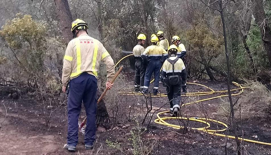 Els bombers a la zona de l'incendi.