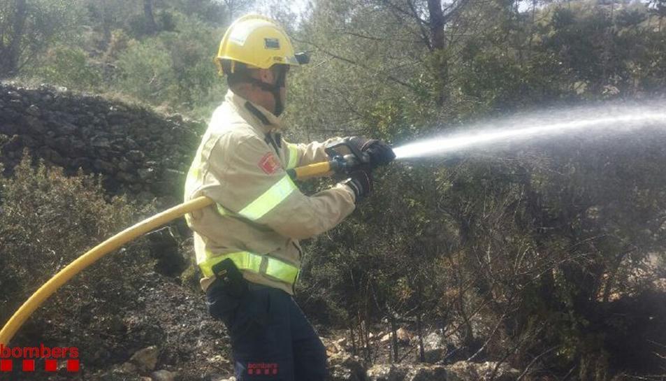 Imatge d'arxiu d'un bomber treballant en un foc.