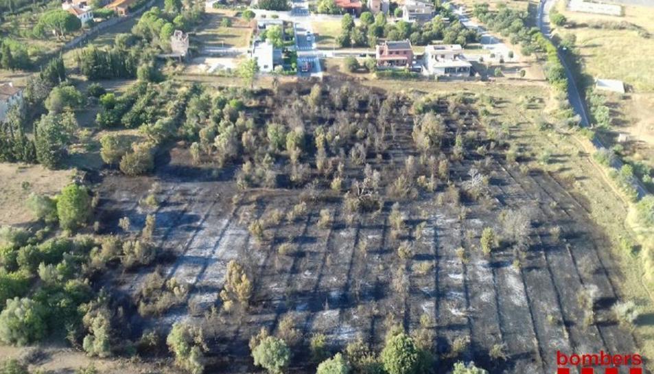 Imatge aèria de la zona on s'ha declarat el foc.