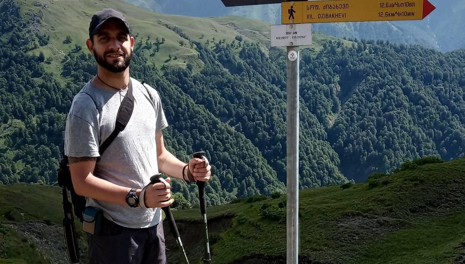Marc Sáez, d'excursió a la vall de Pankisi, al nord de Tbilisi.