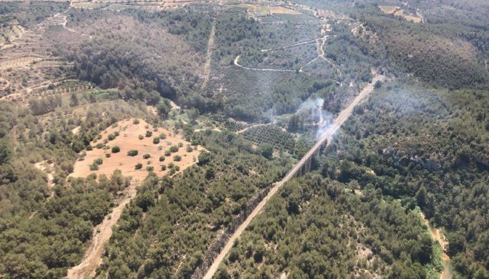 Imatge aèria de l'incendi de Salomó.