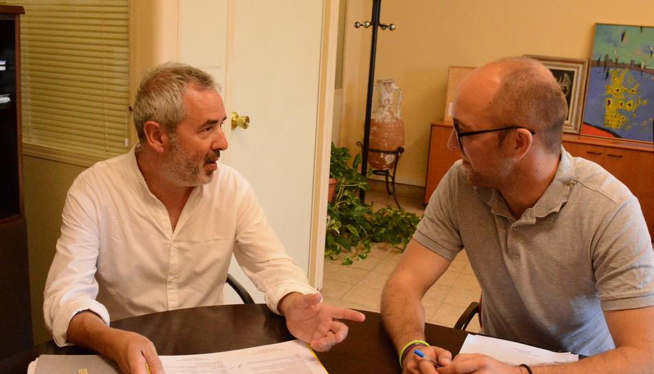 Tresserras i Pinedo, en la reunió que van celebrar ahir per parlar del patrimoni de la ciutat.