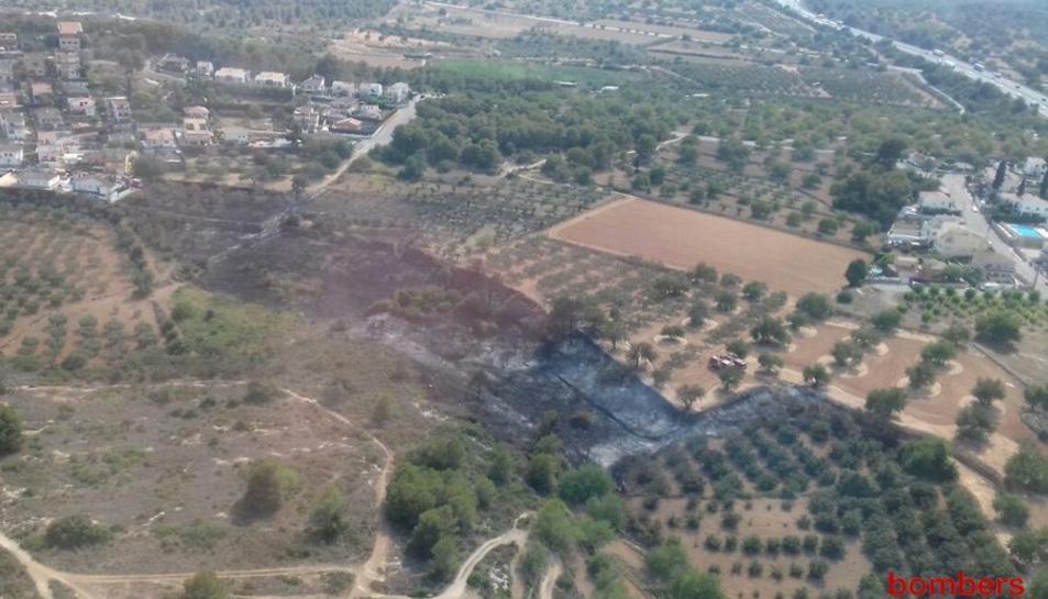 Imatge aèria de la zona que ha quedat afectada pel foc.