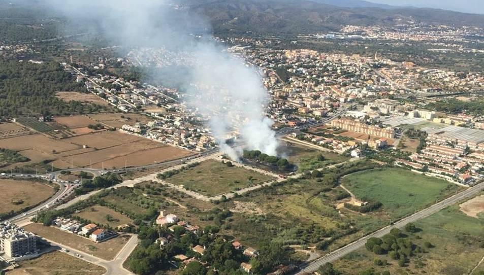 Imatge aèria de l'ncendi de Torredembarra.