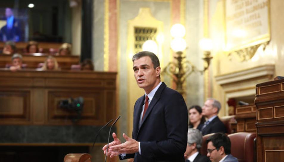 El líder del PSOE, Pedro Sánchez, aquest dilluns 22 de juliol a la sessió d'investidura al Congrés dels Diputats.