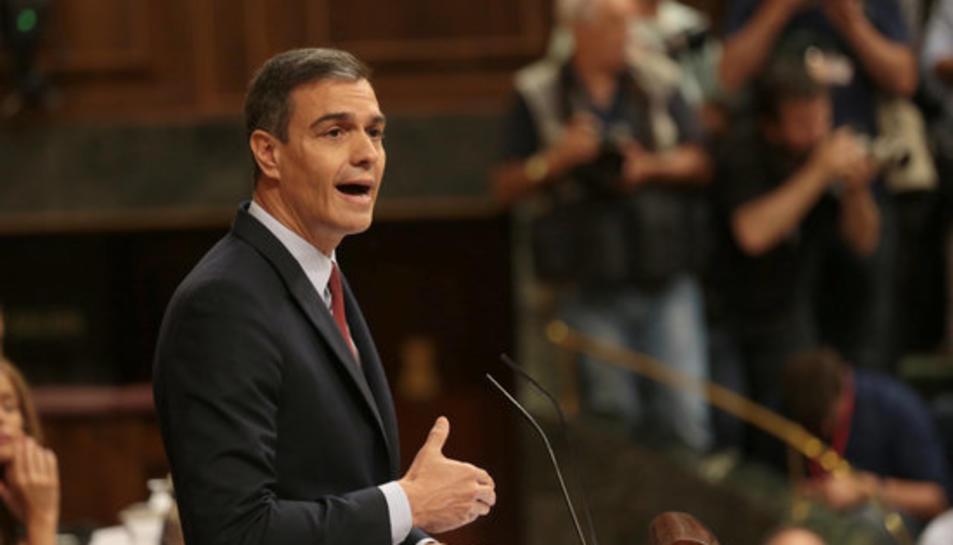 El líder del PSOE i candidat a tornar a ser investit president del govern espanyol, Pedro Sánchez, al Congrés intervenint durant el debat.