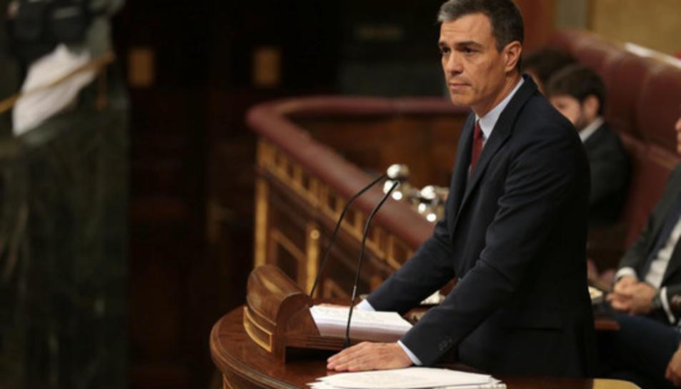 El líder del PSOE i candidat a tornar a ser investit president del govern espanyol, Pedro Sánchez, al Congrés durant el debat.