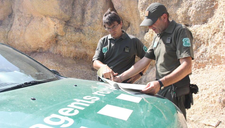 Pla mitjà de dos agents rurals comprovant en un mapa quins punts d'accés al Parc Natural de la Serra del Montsant han de controlar. Foto del 23 de juliol del 2019 (Horitzontal).