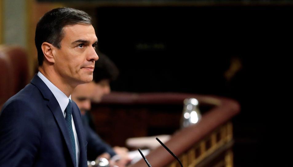 Pedro Sánchez, a l'estrat del Congrés, el dia que afronta la segona i dedinitiva votació d'investidura.