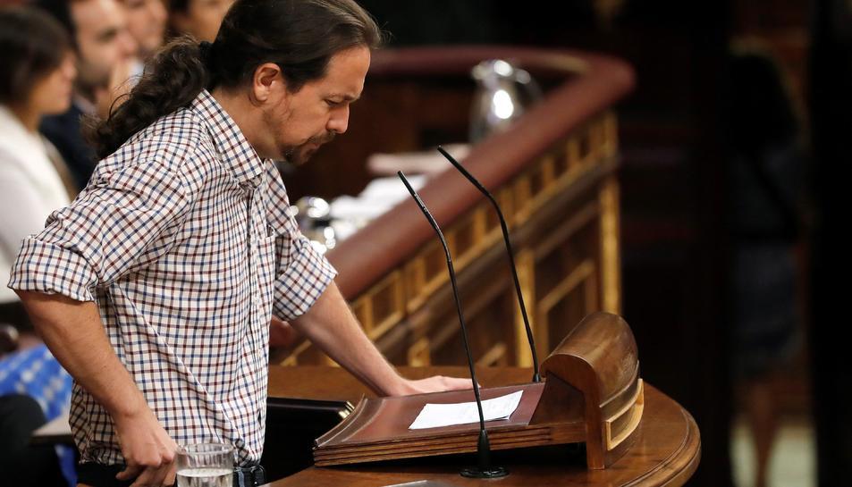 Pablo Iglesias, durant el seu parlament el segon dia d'investidura.