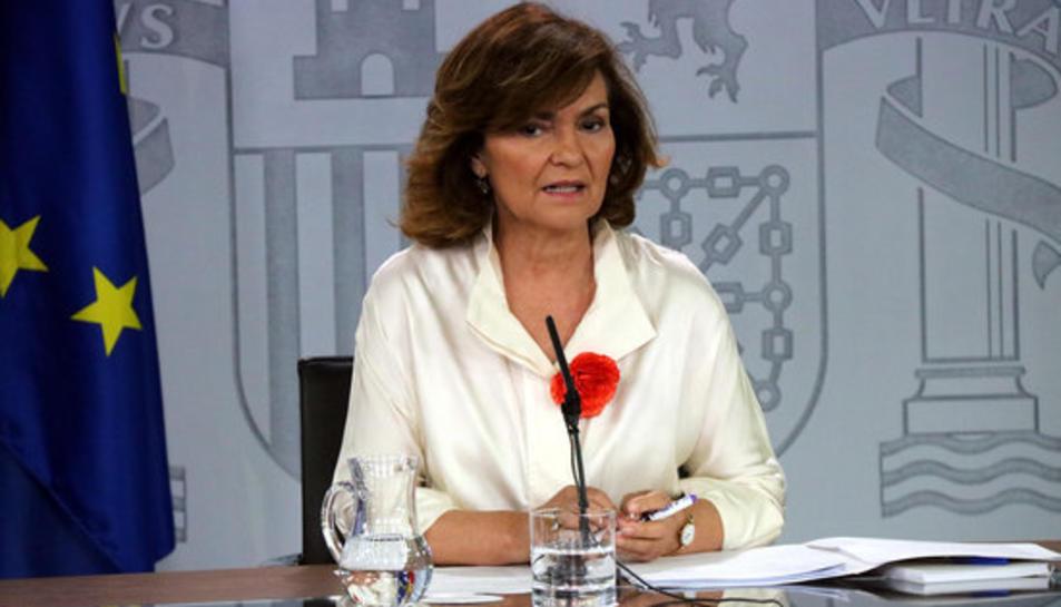 La vicepresidenta del govern espanyol, Carmen Calvo, aquest divendres.