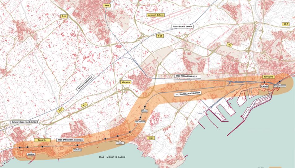 Mapa amb l'itinerari que seguirà el nou tren lleuger segons el concurs públic impulsat per Ferrocarrils de Catalunya.