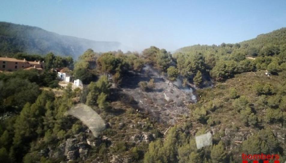 Imatge aèria de l'incendi de Querol.