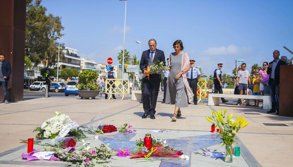 Imatges de l'homenatge a les víctimes del 18-A, al qual hi ha assistit el President de la Generalitat, Quim Torra