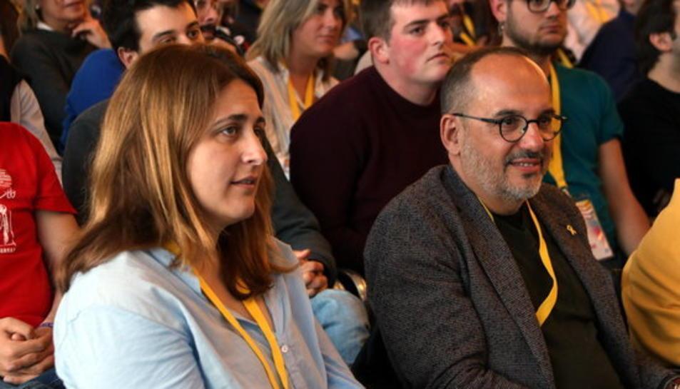 L'excoordinadora general del Partit Demòcrata, Marta Pascal; i del diputat Carles Campuzano, en la cloenda del XX Congrés de la Joventut Nacionalista de Catalunya celebrada a Reus.