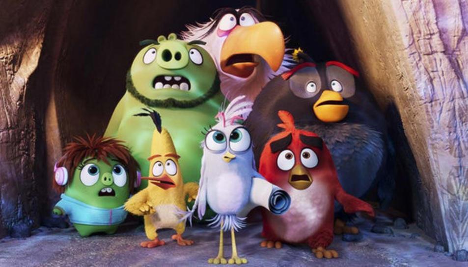 Alguns dels protagonistes de la segona part de la seqüela de la pel·lícula d'animació protagonitzada per ocells i porcs verds, 'Angry Birds 2'.
