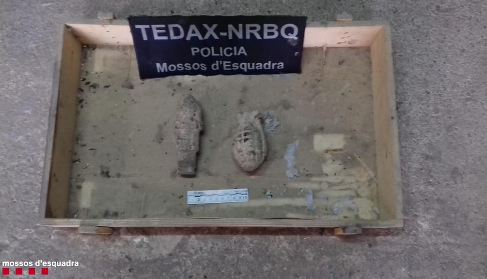 Imatge dels explosius trobats en un magatzem de Flix.