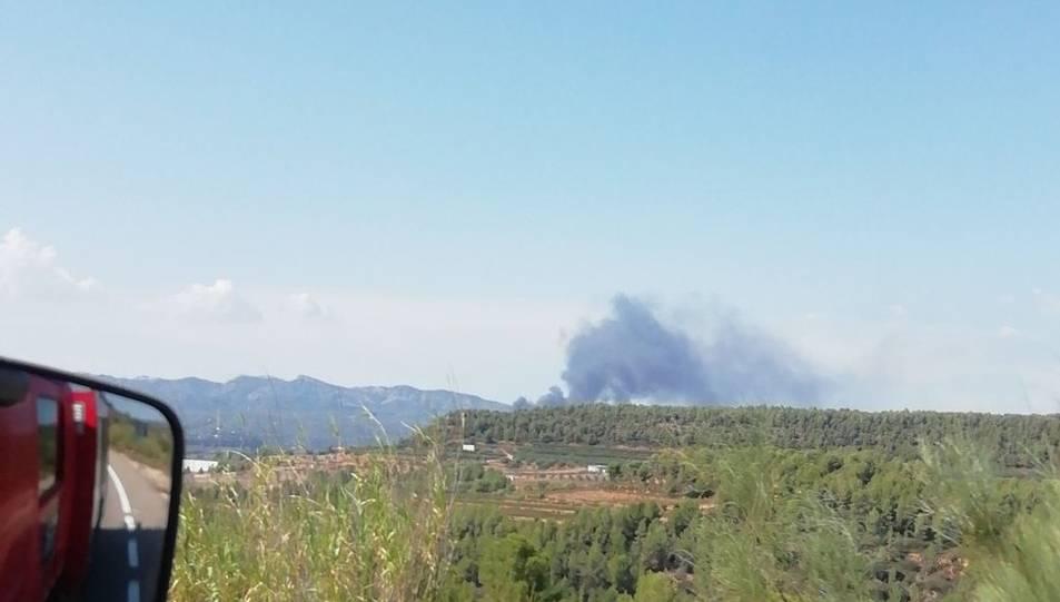Imatge de la columna de fum de l'incendi de Móra.