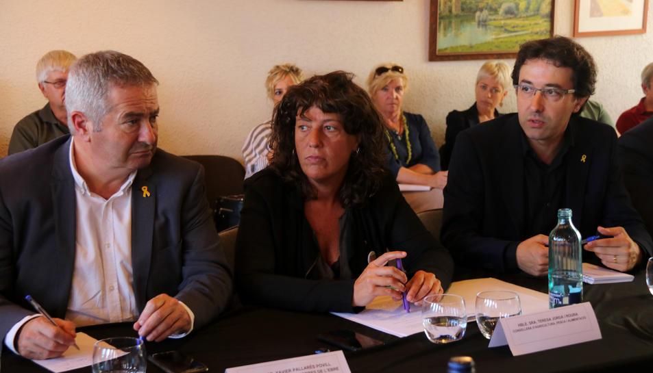 La consellera Teresa Jordà en la reunió amb alcaldes de municips afectats per l'incendi.