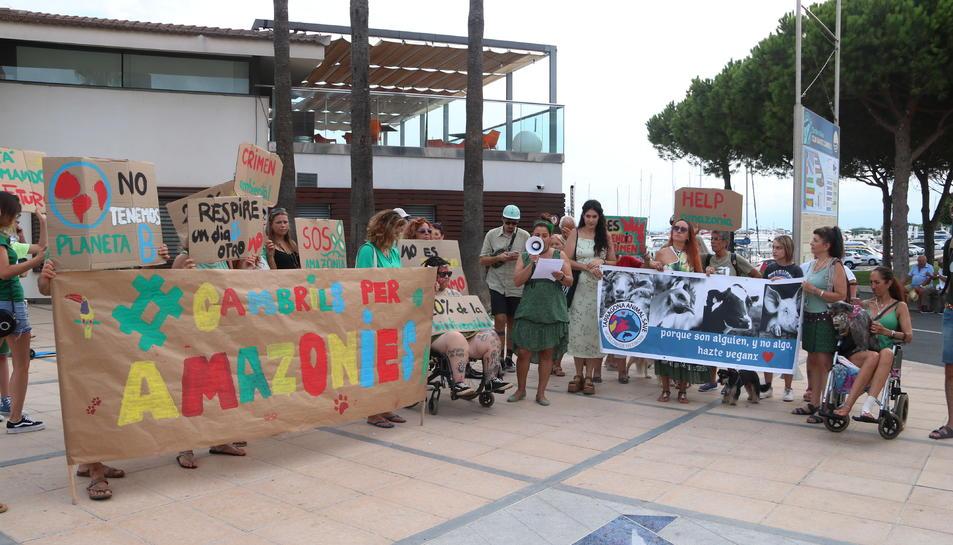 Pla general dels manifestant durant la lectura del manifest per defensar l'Amazònia al final de la protesta organitzada a Cambrils. Imatge de l'1 de setembre del 2019 (Horitzontal).