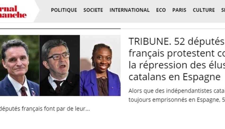 Captura de la tribuna a 'Le Journal du Dimanche' en què 52 diputats francesos reclamen la fi de la repressió contra els independentistes.