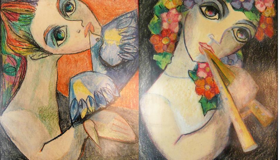 'Noia amb colom' i 'Noia amb flauta', de Palau Ferré.