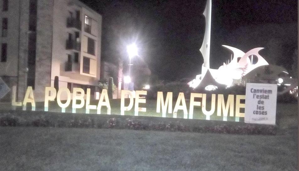 Un dels cartells col·locats a la Pobla de Mafumet.