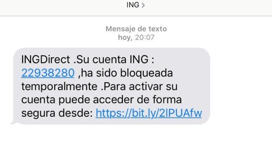 Missatge de text que reben els usuaris.