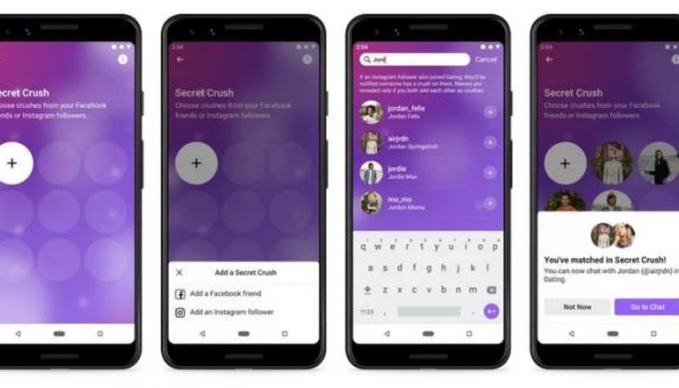 Captures de pantalla de Dating, l'aplicació de cites de Facebook.