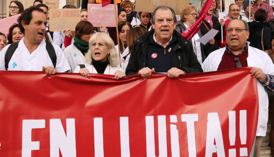 El president del COMT, Fernando Vizcarro, en una imatge d'arxiu de protestes de metges.