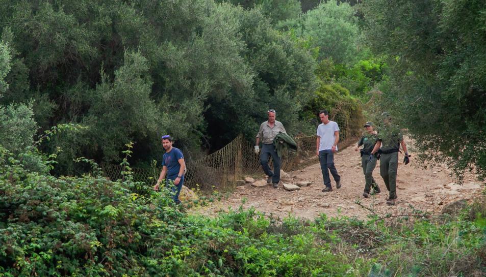 Imatge de l'operatiu per capturar i traslladar a un refugi els porcs vietnamites del Parc de la Muntanyeta.