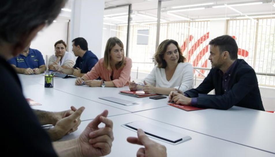 Jéssica Albiach, Ada Colau i Jaume Asens en la reunió de Catalunya en Comú el 9 de setembre del 2019.