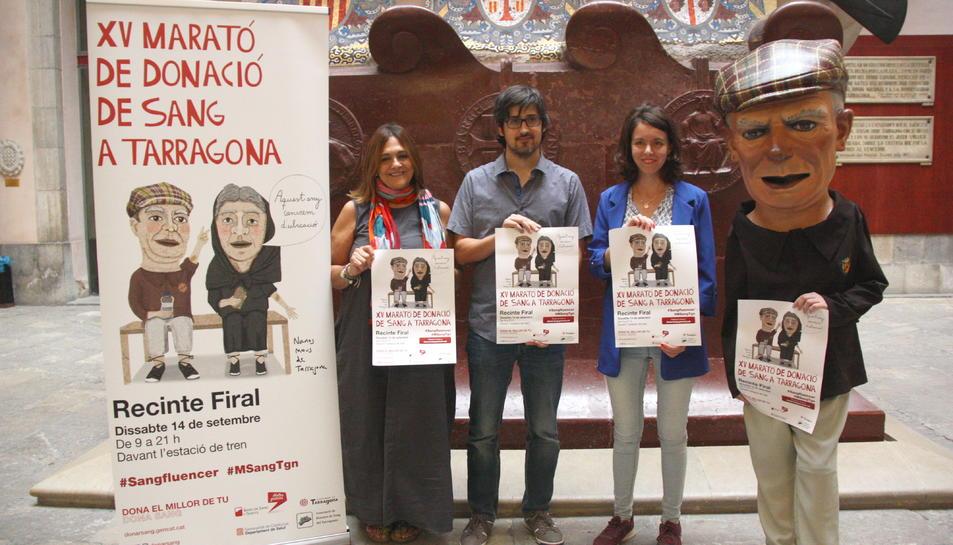 Els impulsors de la Marató de Sang de Tarragona, durant la presentació de l'esdeveniment. Foto del 10 de setembre del 2019.
