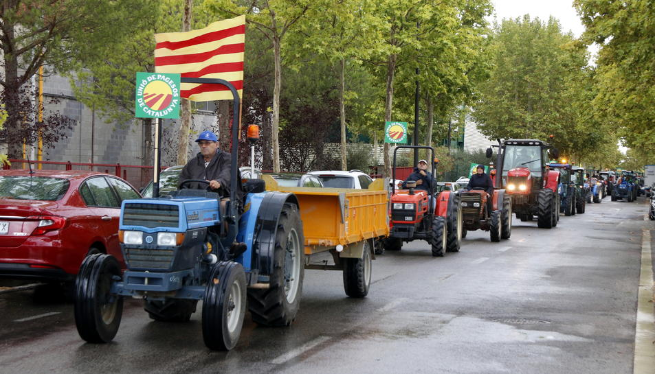 La filera de tractors que s'han manifestat pels preus baixos de l'avellana, al seu pas pel polígon Agroreus.
